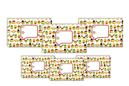 Jillson Roberts 6-Count Decorative Christmas Mailing Boxes Available in 5 Different Assortments, Assorted Sizes, Emoji Christmas