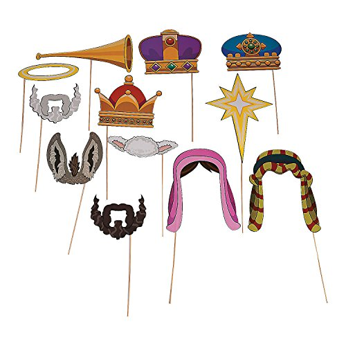 Fun Express Nativity Scene Photo Booth Props for Christmas Costume Props - Christmas - 12 Pieces