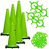Mr. Chain Traffic Cone and Chain Kit, Safety Green, 28-Inch Height (93214-6)