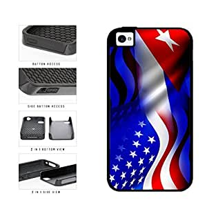 Cuba and USA Mixed Flag 2-Piece Dual Layer Phone Case Back Cover Apple iPhone 5c includes diy case Cloth and Warranty Label