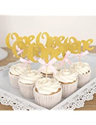 Looching 24PCS Glitter Gold One Cupcake Topper Pink Bow 1st Birthday Anniversary Decoration
