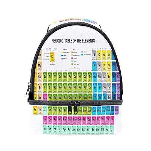 XLING Lunch Box Bag Periodic Table Of The Elements Atomic Double-deck Insulated Cooler Adjustable Strap Tote Handbag for Work Picnic Travel Outdoors