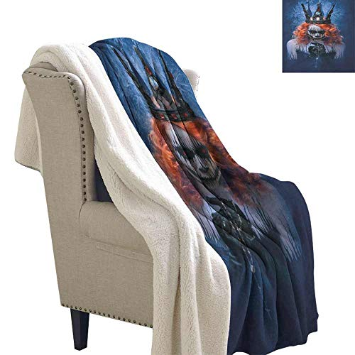 Willsd Queen Lamb Velvet Queen of Death Scary Body Art Halloween Evil Face Bizarre Make Up Zombie Upgraded Thick Lazy Blanket Navy Blue Orange Black W59 x L78