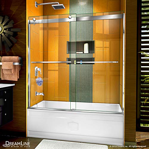 DreamLine Sapphire 56-60 in. W x 60 in. H Semi-Frameless Bypass Tub Door in Chrome, SHDR-6360602-01