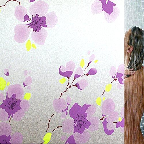 Generic Purple flower Static cling decoration purple peach blossom frosted glass film window film 75cm x 300cm B06XD12PXH