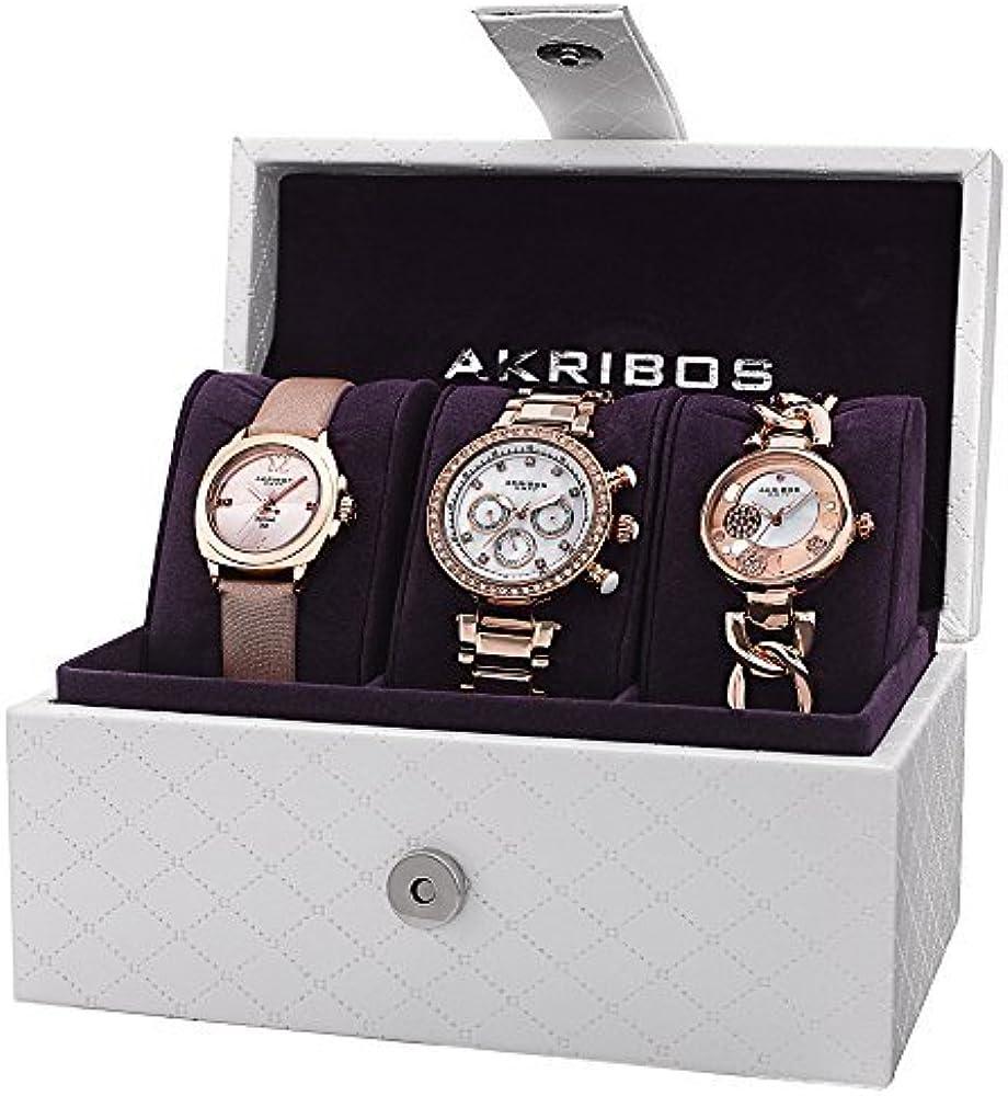 Akribos XXIV AK741RG analógica Swiss reloj de oro de cuarzo de la mujer Set: Amazon.es: Relojes