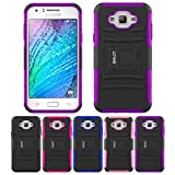 Galaxy J7 Case, HLCT Rugged Shock Proof Dual-Layer PC and Soft Silicone Case With Built-In Stand Kickstand for Samsung Galaxy J7 (2016) (Purple)
