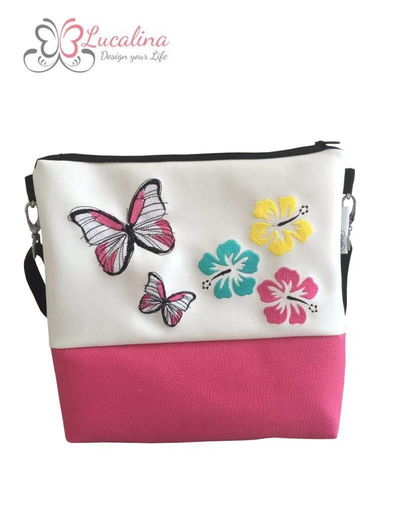 *handmade *bestickt Umhängetasche Familie ist - pink Handtasche Foldover