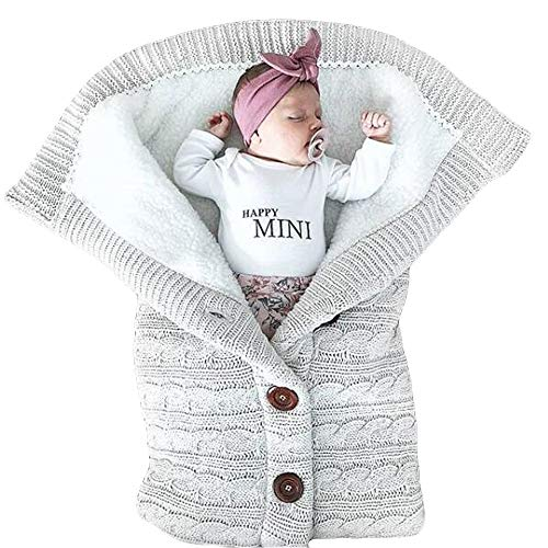 Newborn Winter Warm Sleeping Swaddle- Iuhan Newborn Infant Baby Blanket Knit Crochet Winter Warm Swaddle Wrap Button Sleeping Bag (Gray) (Knitting Baby Mittens Patterns)