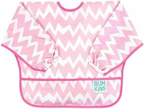 Bumkins Waterproof Sleeved Bib, Pink Chevron (6-24 Months)