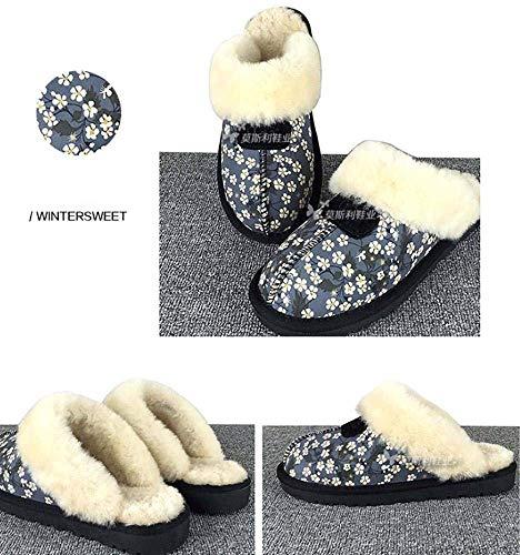 Pecora Chestnut Fur Pelle Classic Di Blu In Shoes Nero 37 Ladies Twin colore Dimensione Warm House Pantofole Face Winter pvFwzqA7xc