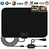 HDTV Antenna - Digital Amplified HD TV Antenna 60-90 Mile Range 4K HD VHF UHF Freeview Television Local Channels w/Detachable Signal Amplifier and 16.5ft Longer Coax Cable