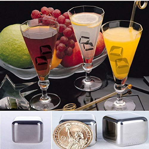 GeoBIX(TM) 4pcs/lot Whiskey Stones Ice Cubes Stainless Steel Soapstone Glacier Cooler Stone ping
