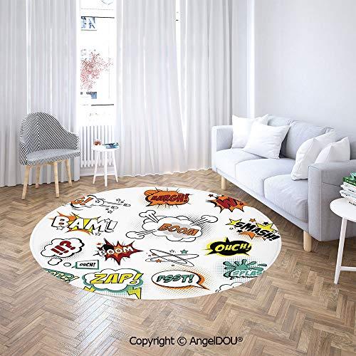 AngelDOU Soft Durable Round Children Carpet Play Mat Retro Fiction Speech Bubbles Famous Strip Gestures Narrative Webcomics Drawing Baby Crawling Blanket Area - Narrative Compass