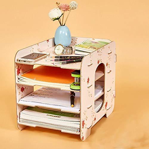 Collocation-Online Office Desktop File Holder Storage Box Wooden Multilayer Shelf Mobile Household Desktop Box,Black by Collocation-Online (Image #6)