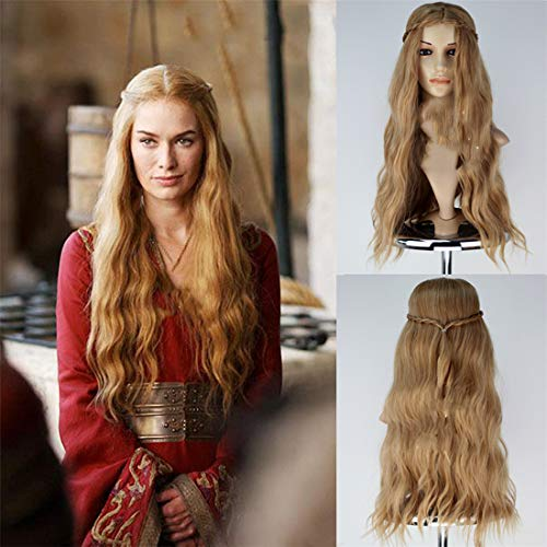 Longlove Jon Snow Hair Short Curly Fluffy Black Costume Cosplay Wig inspired by Game of Thrones (Cersei Lannister gold) ()