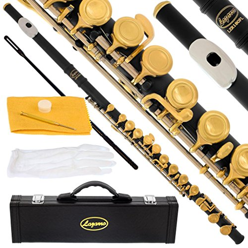 Lazarro Professional Silver Nickel Closed Hole C Flute for Band, Orchestra, with Case, Care Kit, Gloves and Warranty