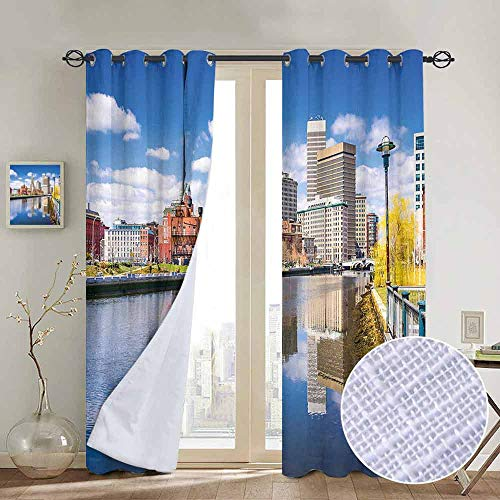 ins by United States,Providence Rhode Island Riverfront Spring Season Water Reflection Buildings,Multicolor,Wide Blackout Curtains, Keep Warm Draperies,1 Pair 54