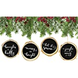 """Set of 4 Modern Farmhouse Rustic Chalk Paint Christmas Ornaments, 4"""" Natural Birch Wood circles with Jute Hanger, Giftboxed. """"Let It Snow"""", """"Jingle All the Way"""", """"Boughs of Holly"""", """"Merry and Bright"""""""