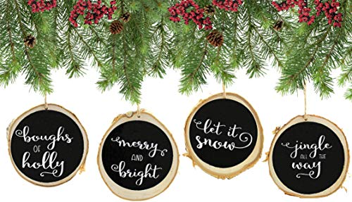 "Set of 4 Modern Farmhouse Rustic Chalk Paint Christmas Ornaments, 4"" Natural Birch Wood circles with Jute Hanger, Giftboxed. ""Let It Snow"", ""Jingle All the Way"", ""Boughs of Holly"", ""Me"