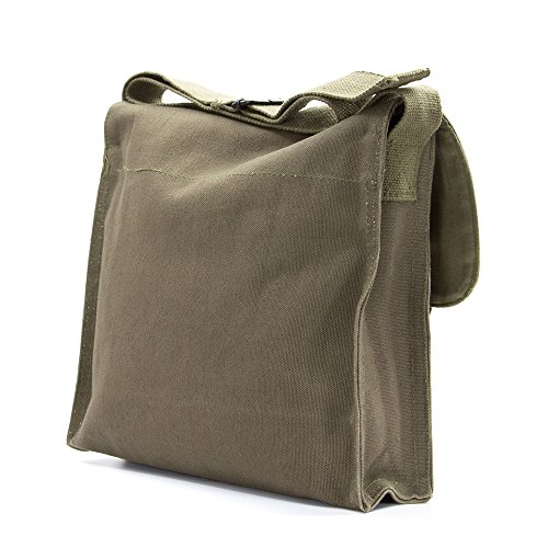 LGBT Love (Rainbow Heart) Army Heavyweight Canvas Medic Shoulder Bag in Olive & White by Grab A Smile (Image #5)