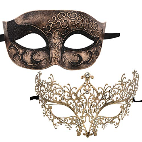 (Xvevina Masquerade Mask Couples Shiny Rhinestone Venetian Party Prom Ball Metal Mask Plastic Mask (Ana Vintage Gold Couple))