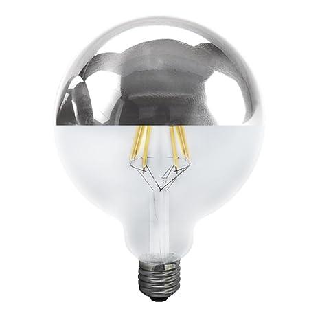 Bombilla GLOBO LED Regulable 6W con cúpula plata de diámetro 95mm rosca E27 de luz cálida