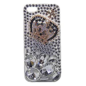 Mini - Crown Ornament Crystal Covered Back Case for iPhone 5/5S