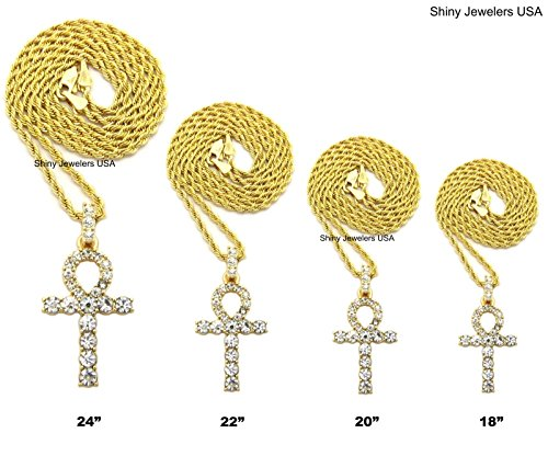 MENS ICED OUT MICRO PAVE EGYPTIAN ANKH CROSS (KEY OF LIFE) PENDANT ROPE CHAIN 18