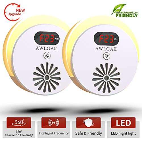 AWLGAK New 2019 Ultrasonic Pest Repeller(2 Pack)-Electronic Pest Control Plug with Frequency Fluctuation Display and LED Night Light in for Indoor and Outdoor- in Repellent/Anti Mice (White)