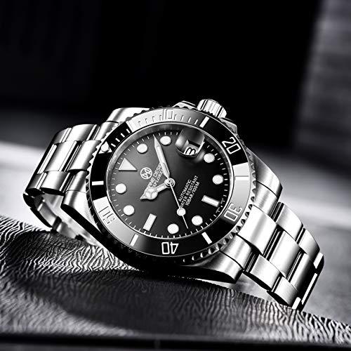 Pagrne Design Relojes Hombre Submariner Mecanico Automatico Japones Analogico Acero Inoxidable Bracelet Nh35