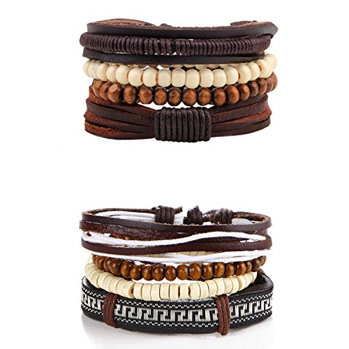 Paxuan 8 Pcs Braided Leather Bracelets for Men Women Wooden Beaded Bracelets Wrap Cuff Bracelets Adjustable (Brown)