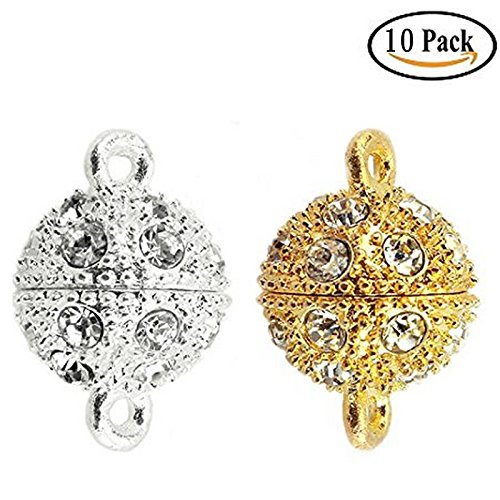 10x Crystal Rhinestone Pave Magnetic Beads Clasp Bracelet Necklace Jewelry,12 mm ,Silver / Gold (Jewelry Magnetic Crystal Bead)