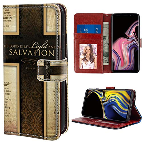YaoLang Samsung Galaxy Note 9 Wallet Case, Bible Verse Cross PU Leather Standable Wallet Phone Case with Card Holder Magnetic Hold for Samsung Galaxy Note 9