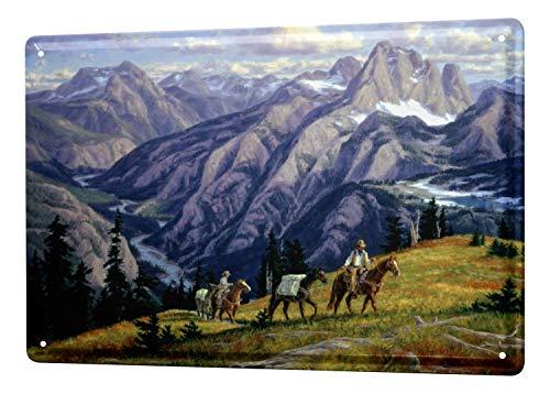 Tin Sign Western Cowboy Indian Decoration Cowboys mountains Horses Metal Plate 8X12