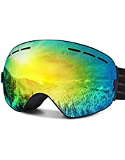FYLINA Ski Goggles, OTG Snowboard Goggles with Anti-Fog, UV400 Protection Helmet Compatible Snow Goggles Detachable Dual Lens for Men Women and Youth
