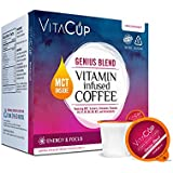 VitaCup MCT, Turmeric, and Cinnamon Genius Blend Coffee K Pods 16 Ct. Infused With Essential Vitamins B12, B9, B6, B5, B1, and D3, in Single Serve Keurig Compatible K Pods (Genius Blend)