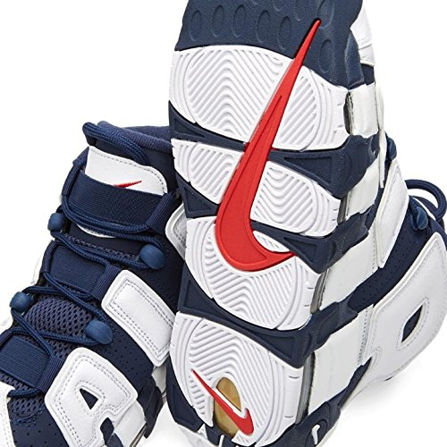 Nike Air More Uptempo, Scarpe da Basket Uomo White, Mid Nvy-mtllc Gld-unvrst