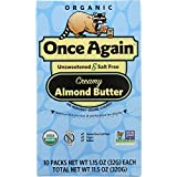 Once Again Unsweetened and Salt Free - Creamy Almond Butter - Organic - 1.15 oz - case of 10 - Gluten Free -Vegan