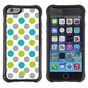 LASTONE PHONE CASE / Suave Silicona Caso Carcasa de Caucho Funda para Apple Iphone 6 / Dot Green Silver Sparkle White Glitter