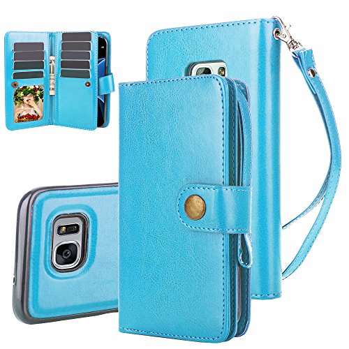Galaxy S7 Case, TabPow 10 Card Slot - [ID Slot][Button] Wallet Folio PU Leather Case Cover With Detachable Magnetic Hard Case For Samsung Galaxy S7, Blue