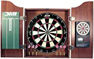 DMI Sports Deluxe Bristle Dartboard Cabinet Set with Electronic Scorer Includes 2 Dart Sets and a Chalk Scoreb