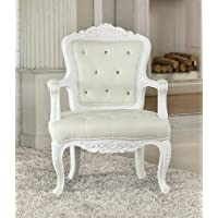 Pascal neo classic design collection white finish wood frame accent chair with crystal button tufted back