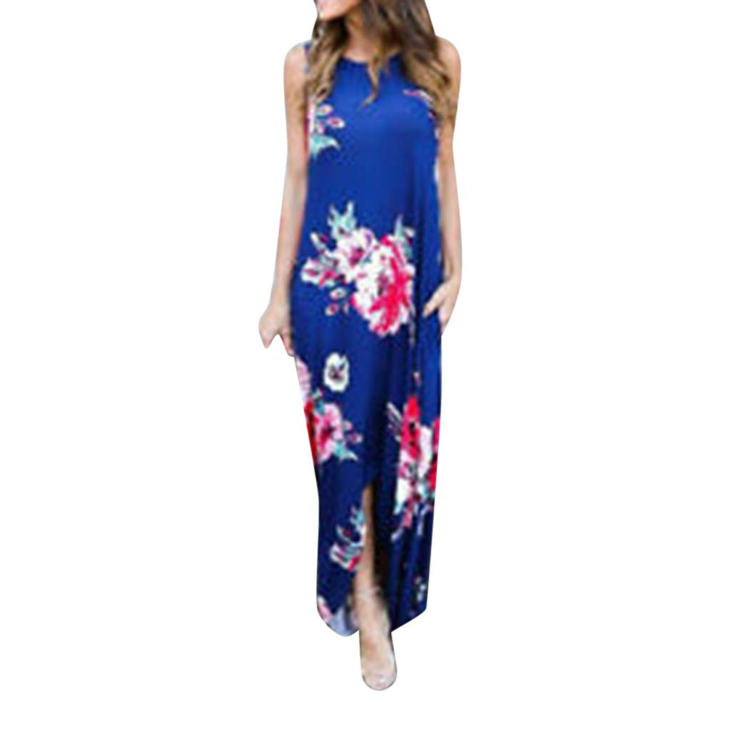 iPOGP Women Short Sleeve Summer Women's Printed Sleeveless V-Neck Maxi Hem Baggy Kaftan Long Dress Tops Girls Fashion 2019