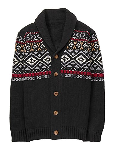 Gymboree Little Boys' Fairaisle Cardigan Sweater, Black, - Sweater Cardigan Gymboree