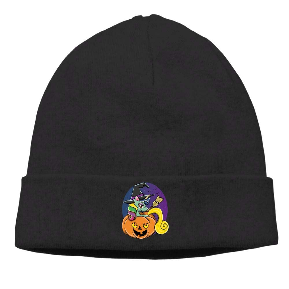 Funny Halloween Unicorn Witch Skull Hat Beanie Knit Cap for Mens Winter Daily Black