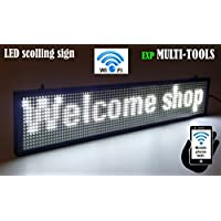 LED display WHITE color with WiFi connection , LED scrolling message sign, BRIGHT and in new light auminum housing