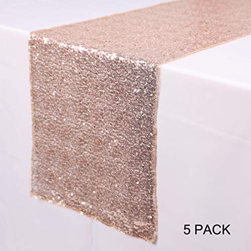 N&Y HOME 5 Pack Rose Gold Sequin Table Runners 12 x 72 inch, Glitter Sequin Runner for Wedding, Birthday, Party, Baby Shower Decorations, Celebrations and ()