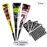 3Pcs Temporary Tattoo India Henna Kit Tattoo Paste Cone Body Art Painting Drawing with 123 pcs Free Tattoo Templates,Black,Brown,Red(3Pcs)