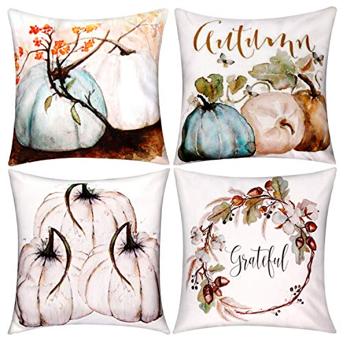 Jetec 4 Pieces Pumpkin Decorative Pillow Cover Pillow Case Sofa Back Throw Cushion Cover for Autumn Thanksgiving Day Christmas Halloween Day Home Decoration, 18 by 18 Inches (Color Set 1)